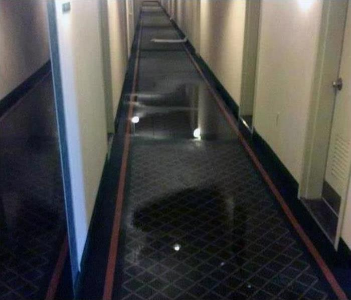 Hotel Hallway flooded in storm