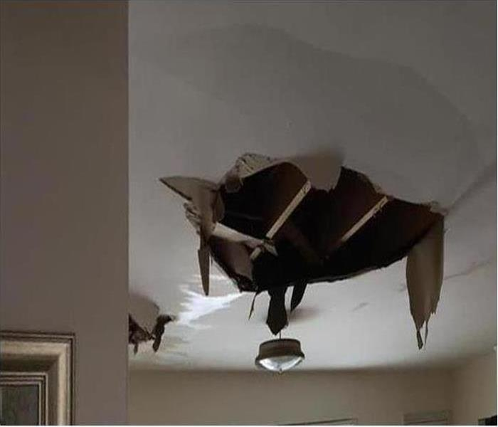 Ceiling Collapse From water Damage after storm